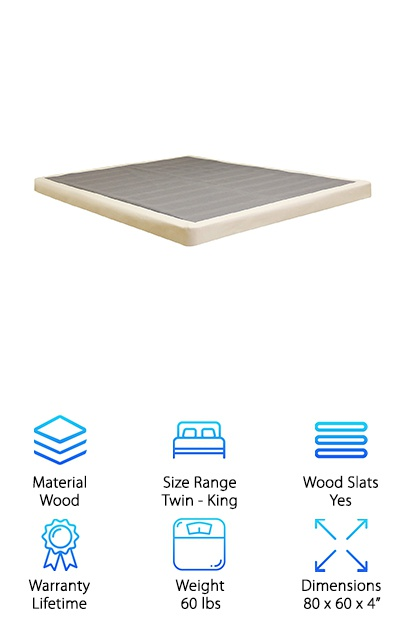 "Do you have a high profile mattress and a standard box spring and feel like you need a step stool to climb up onto your bed? Well, this Lifetime Low Profile Box Spring could be the answer. The low 4"" profile makes this a perfect match for thick mattresses. It's ideal for houses with narrow halls and stairways where a standard box spring is next to impossible to maneuver. It comes in an easy to manage box. Don't worry! Assembly is easy and should only take about 15 minutes. Then, pull on the included cover, zip it up, and it's ready. Because it's one solid piece when it's put together, it provides even support for your mattress. What kind of mattress? Any type from foam to latex to innerspring."