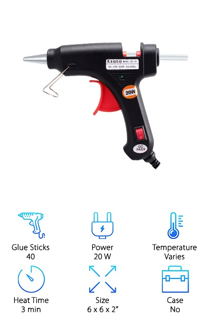 The precise tip of the Kasana hot glue gun is one of the things we liked most about it. Being able to control the placement and amount of glue that comes out not only keeps your project neater. It creates a better bond. After you turn it on, the gun heats up in 3 to 5 minutes. It's equipped with safety and energy saving features, too, like an LED light so you or anyone else who's around can easily see when it's turned on and hot. Plus, there's internal overheating protection. It's always nice when something you buy is ready to go right out of the box. That's why we were so thrilled to see that this glue gun includes 40 glue sticks, each about 5 ½ inches long.