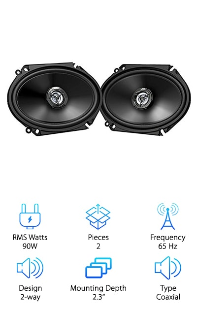"The JVC CS-DR7820 speakers from the DR series are a solid pair of two-way coaxial speakers with a lightweight design. Do you want to upgrade your car's speakers without also installing a new head unit or amp? You can power these speakers with your factory radio setup and still get a noticeable improvement in sound quality. The speakers offer up to 600W peak power handling with 60W RMS. The hybrid rubberized cloth surround provides durability while remaining lightweight, while the carbon mica woofer and 1'' PEI balanced dome tweeter provide amazing clarity and range from 65 up to 25,400 Hz. The only downside? No grilles included. But overall this system is a great choice for the best 6x8"" door speakers that are easy to install with a factory radio. That makes them budget-friendly and perfect for a basic upgrade!"