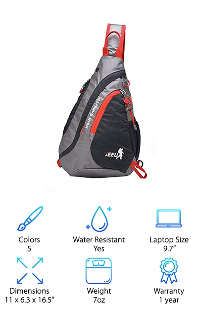 The SEEU Waterproof Sling is a tough but lightweight sling backpack. Made from water-repellent, tear-resistant polyester, SNS metal zippers, and breathable nylon mesh, the reinforced seams and stitches of this sling make it a sturdy companion for your travels. It comes in a few different color scheme options: black/gray/red, blue/gray/green, green/gray/orange, black/gray, and orange/gray/blue. Besides a sleek, athletic design, this backpack has five pocket sections: two pockets in the main backpack, a side pocket for your water bottle, and a shoulder strap compartment. Whether you're looking for a sling backpack for travel or school, the SEEU has got your back! The shoulder strap pockets fits phones and other devices up to 4.7'' and the main compartment fits laptops and tablets up to 9.7''. This practical sling bag has a 15L capacity for carrying around everyday gear, gym clothes, or packing for a day trip or hike.
