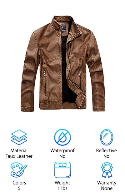 Chouyatou Men's Leather Jacket