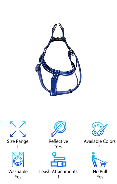 Here's a good choice if you're looking for a good large breed dog harness. The Chilipet No Pull Harness is a seriously heavy duty product. It was made to withstand a lot of force so it won't be stretched or ripped apart. It doesn't absorb dirt and it doesn't deteriorate from sun exposure. This harness is specifically made for medium to large breeds and has a lot of adjustable points. There are 3 in all so you can get just the right fit for your pooch. Plus, the stitching has reflective properties so you don't need to worry if you're out for a walk in the dark or before sunrise. It's super easy to put on and comfortable for your dog, too. This is designed to be an everyday harness that your pet will love.