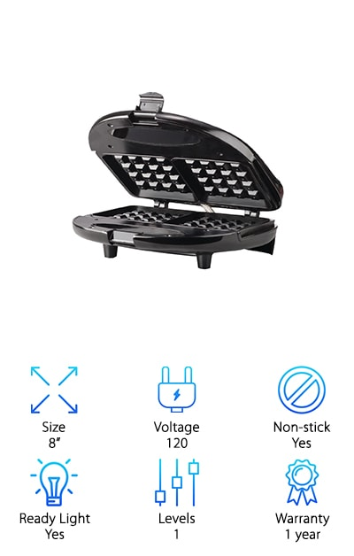 If you're looking for an at-home version of the best commercial Belgian waffle maker, check out this one from Brentwood. This is a smaller model than the other products on our list. It's perfect anyone who only needs to make waffles for one because it only makes 2 waffles at a time. The cool touch handle makes sure you don't come in contact with any hot surfaces. That's not all. There are indicator lights that tell you when the power is on and when it's ready to go. In as little as 6 minutes, you'll have a delicious, home-cooked waffle. The plates are non-stick so clean-up is really easy. Plus, because it's so compact, storage is really easy when you're all done. One more thing, this waffle maker comes with a satisfaction guarantee that's good for 1 year.