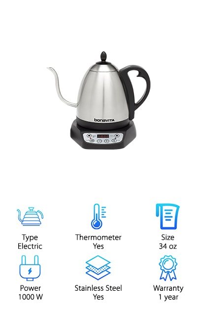 The Bonavita Gooseneck Kettle has an amazing temperature control. What do we mean by that? You can adjust it in 1 degree increments anywhere from 140 to 212 degrees F. That means you can make the perfect cup of coffee or tea because you can choose the precise temperature that will give you the best results. This stainless steel electric kettle is electric and has a real-time temperature display. There's a timer so you know when the water will be ready. Once it's ready, it can hold the desired temperature for up to 60 minutes. That gives you more time to enjoy your drink and even leaves a window open for a perfectly brewed second helping. The brushed stainless steel looks amazing and is free from any BPA plastics. Oh, and one more thing: the gooseneck offers precise pour control.