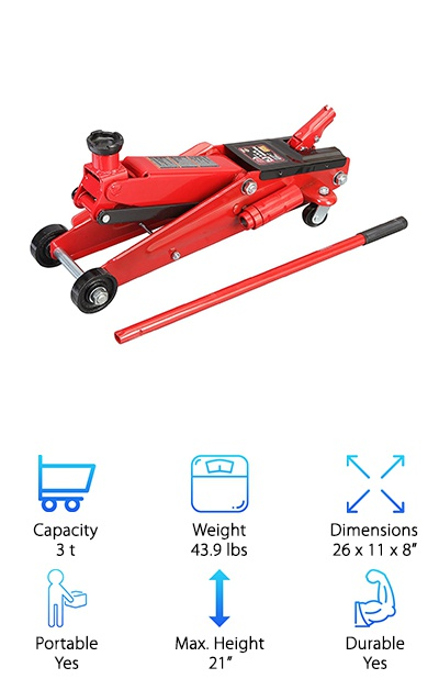 If you're looking for the best jack for SUV, look no further than the Torin Big Red. It's a great floor jack for larger vehicles. It has an extra long neck that makes it much easier to lift higher vehicles. It can hold up to t3 tons of weight, making it a great choice for heavier vehicles. While it is not a Milwaukee floor jack, it has 360 swivel casters to allow you to move it easily without worrying about the placement of your jack when you are getting ready to lift the vehicle. The lift range is from 6 to 21 inches, making it a better choice for people with higher profile vehicles. This is a great choice for anyone looking for the best 3-ton floor jack. The long neck attachment allows you to easily lift SUVs, and even large trucks. It's even a great choice for a more off-road car, like a Jeep.