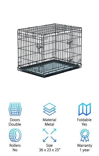 New World Crates are loaded with features. This one is made to hold medium sized breeds and is really easy to assemble. You don't even need any tools. It has double doors, each with 2 heavy duty slide-bolt latches to keep your dog safe and secure when you're not there with him. They swing open and have low thresholds so your pup will have no problem getting in and out. That's not all. This best heavy duty dog crate collapses until it's perfectly flat which makes it ideal for travel and easy to store in your home. The plastic pan is easy to remove and clean. It actually has a hook called a Pan Stop to keep it in place until you're ready to take it out for cleaning.