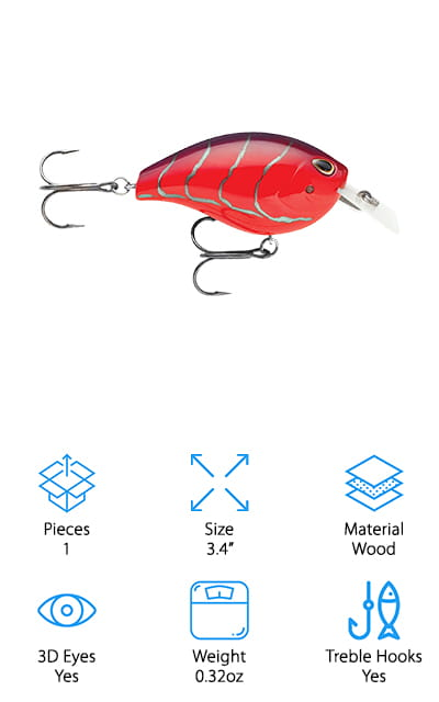 Storm Arashi has made a state-of-the-art product that has yet to be patented. Their design tunes itself so that it's constantly in motion without the angler having to yank on the line. The lip on this bait is so incredibly thin that it can cut through the water quickly, creating a darting effect. It might be thin, but that doesn't take away from how strong it is. The fish aren't going to be able to break this thing on the first try! The hooks don't hang like in many other baits – instead, they are close to the wooden body of the lure to ensure that any fish that goes after them will get hooked and stay that way. These hooks are mean! We liked the unique designs of these lures and hope to see more like them. Perhaps Storm Arashi is onto something! In the meantime, there are 2 different color compositions to help you target the fish you want!