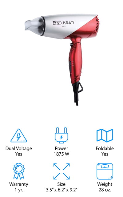 This small hair dryer is foldable and powerful at the same time. It offers 2 different heat settings as well as a cool shot button, plus it comes with a concentrator attachment to get just the right style. The cord is 6 ft. long and swivels to provide you more flexibility and freedom to move around as needed while you style your hair. It also has a loop at the base of the handle to make hanging it up and out of the way even easier. The handle for this dryer is an average size to make it easy to hold while the head is slightly smaller so it can accommodate travel even more easily. It's moderately priced and offers dual voltage so you can take it on your trips, no matter where you go.