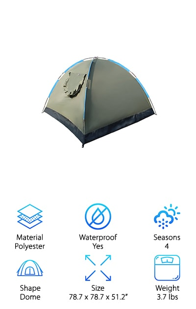 Camp like royalty with the EverKing, an outdoor folding tent that features some of the best 3 person tent reviews around. A favorite among fans for its extremely easy set-up, the EverKing fits two adults or four kids comfortably and is ideal for camping, hiking, and even outdoor play. Made with polyester that provides UV protection, you can feel good about popping this tent in the yard and letting the kids play outside, or snagging some shade during a beach day or camping trip with your partner or friends. A zippered door and mesh window, both equipped with a flap for privacy, provide ventilation throughout the tent, so you won't overheat and will enjoy fresh air circulating at all times. Complete with a one-year warranty, you're covered in the event of a defect, so you have nothing to lose by purchasing this convenient, practical model. Make your outdoor adventures comfortable when you choose the EverKing as your companion.