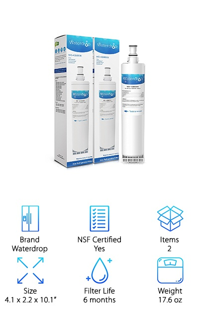 Need a high-efficiency filtration system that gives you healthier water fast? The Waterdrop Replacement Filters reduces impurities in your water without slowing you down. It gets rid of most chlorine, cysts, rust, corrosion, sediment, dirt, and more. It's NSF certified, which makes all of us trust its safety. These filters truly perform! It comes in a convenient 2-pack that will last your fridge about a year. But the best part? Waterdrop donates to help people get clean water with every purchase! They donate to Water Project, and non-profit that helps those almost 700 million people that don't have access to clean water every day! It's nice to know that your purchase can go to help a great charity too! Not to mention, the filter is also top notch. It's a win for everyone!