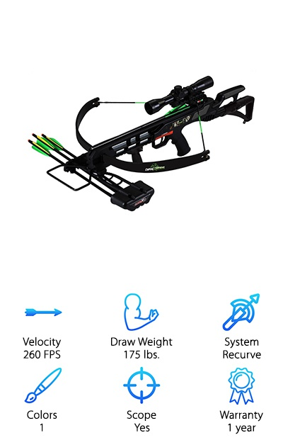 The SA Sports Empire Terminator Recon is a recurve crossbow with a 175-pound draw weight. The 11-inch power stroke and draw weight combine for an initial release speed of 260 FPS. Although a beginner-level recurve crossbow, the Terminator Recon should give you enough foot-pounds of kinetic energy to hunt small game and whitetail deer. The light weight makes it easier to carry on your trek through the woods, but give it a more intense recoil that total beginners may be surprised by. The crossbow also comes with a 4x32 reticule scope, instant-release quiver, two 16'' aluminum arrows, a rope-cocking device, and vertical fore grip. It's a great starter recurve crossbow that you can upgrade as you go along with an improved scope, sound dampener, and so on. Another reason why this crossbow is great for beginners: the adjustable rear stock. It will help you improve your accuracy! The vertical fore grip makes it easy to fire the crossbow off hand as well as rest it comfortably for an accurate shot.
