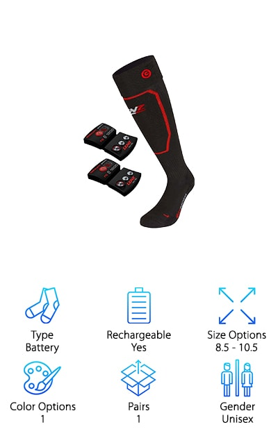 If you were wondering where the Lenz heated socks reviews were on our list, never fear. You've found it. Lenz 5.0 heated socks are pretty awesome. First of all, the actual sock is comfortable and made of a nice blend of materials. They stay up without constant adjustment and are ergonomically knit so your foot gets some extra support. The rechargeable battery attaches with snaps on the leg band and the USB-charger you need is included. And here's the coolest thing you'll find in this Lenz heated socks review: the heat has 3 settings and they can be monitored and adjusted with your smartphone. All you need to do is sync your socks to your phone via Bluetooth. One more thing, the battery charges fast and produces heat for up to 14 hours.
