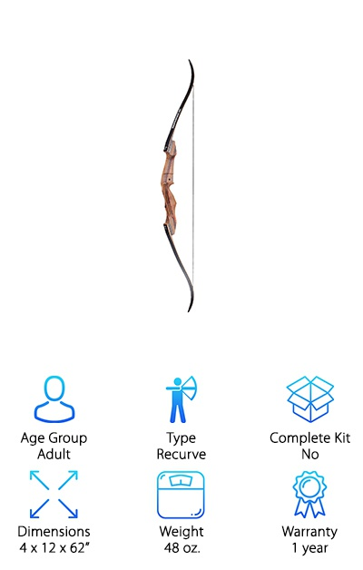 If the Samick Sage Recurve Bow had come as a complete kit, it might have been our Top Pick! This simple recurve bow has everything you'll want. This simple bow has the ability to grow and change with your skill and strength. It has pre-installed fittings for upgrades to fit the Sage Hunting kit. New limbs can be purchased separately to increase or decrease draw weight as you learn. It comes in a variety of draw weights ranging from 25 to 60 pounds so you can start where you think you'll be most comfortable and adjust from there. The limbs are made of tough and flexible hard maple with fiberglass. It's tough and beautiful, two of our favorite things. We find the Sage to be one of the most versatile and adjustable beginner bows on the market, and it's a great buy anyone looking to get started.