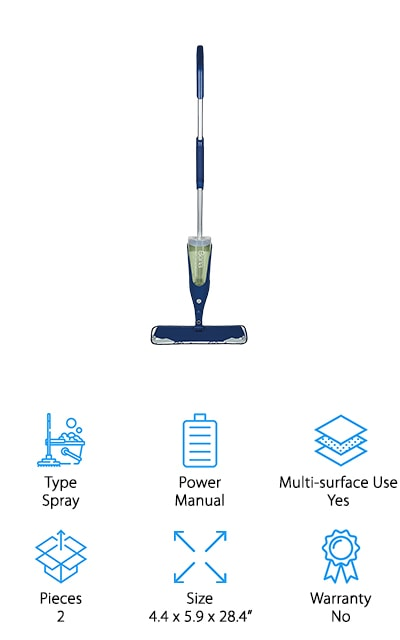 Last up is the Bona Spray Mop. Bona is a pretty well-known and trusted brand with it comes to floor cleaning. The mop base on this spray mop is pretty impressive. It's 15 inches wide which covers a lot of surface area and will help cut down on cleaning time. Plus, the corners are flexible to help prevent damage to your furniture or baseboards in case you bump into them while you clean. This mop comes with a full size bottle of Bona's laminate, stone, and tile cleaner. Just fill up the cartridge, put on the microfiber mop pad, and you're ready to start cleaning. The handle is long, sturdy, and easy to maneuver. When you need cleaner just pull the trigger to get a fresh mist of spray.