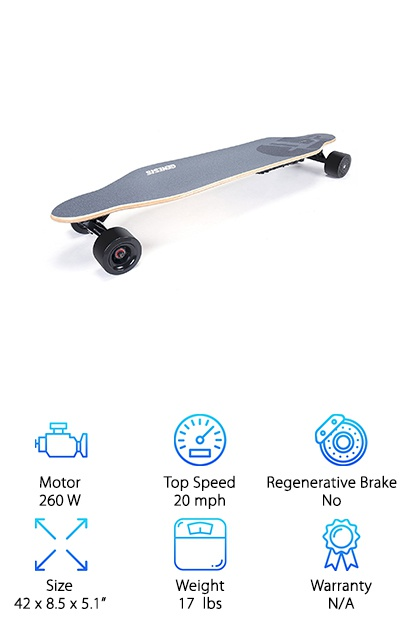 The Genesis Tomahawk Electric skateboard is a great pick for riders who are looking for a budget longboard style board. Made by one of the best electric skateboard companies in the business, you can be sure that a GEnesis skateboard will stand up to your busy life. This board allows you to cruise along at max speeds of 20 MPH for more than 20 miles, making sure you get the best out of your board. It's 3.7 lb battery recharges in under three hours. You can ride your board straight out of the box, so there's no waiting around for assembly, just get straight to riding. The remote fits easily in your hand and allows the rider to control the speed easily as they cruise along. It can tackle hills of up to 15 degrees, making sure that you can ride without worries. This Genesis board provides an easy and reliable way to get around the city without worrying about gridlock or traffic.