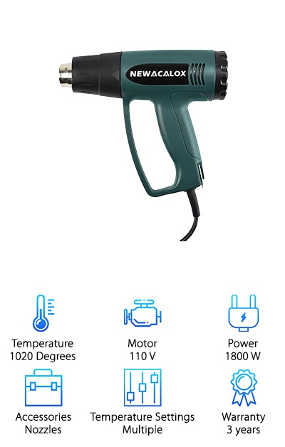 The NEWACALOX Adjustable Temperature Heat Gun is flexible, just like plastic with high heat pointed at it. What makes this gun special? The temperature control dial, letting you move in increments all the way up to 1,020 degrees. That's one of the highest-capacity heat guns we're featuring, and there's more. The three-year warranty means you can feel secure about your purchase. It's designed to be solid and last through hours of work. Plumbers can bend endless PVC pipes. Builders can stretch vinyl around upholstery quickly without tearing the fabric. Pop out a dent instead of having to take your car to the mechanic following an accident. We could go on, but you get the idea. High heat needs hardcore power, so you'll get 110-volt output and 1,800 watts with this DIY (do it yourself) weapon. Finally, you will get 4 different nozzles to redirect and focus the hot temps. What are you waiting for? This purchase is a no-brainer!
