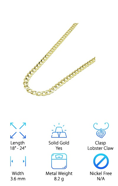 14k Real Gold Cuban Link Chain