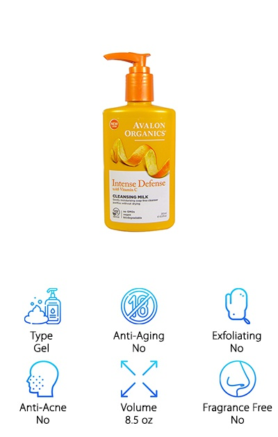 One of the best gentle facial cleansers around, this cleansing gel from Avalon Organics is surprisingly simple. It's part of the Intense Defense line because it combats the stress and damage done to your skin from the environment. This can include everything from UV damage to sunspots to collagen deterioration. Ingredients include lavender, chamomile, white tea, orange oil, and Vitamins C and E. The Vitamin C is particularly important to this formula. In fact, it's so important that they actually use 2 different forms. So, what does that all mean for you? Well, it's a great cleanser that gives a lot of health benefits to your skin. It foams slightly when you use, has a mild smell, and doesn't leave behind any residue. There's no dry or tight feeling after you rinse. Just soft, smooth skin.