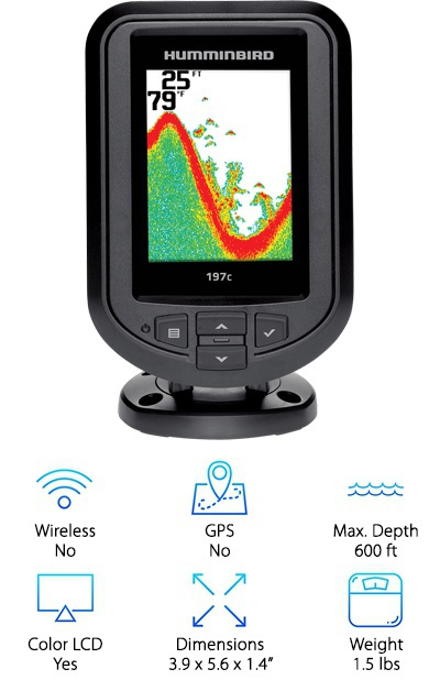 The Humminbird PiranhaMax 197C has quite a few features while still being easily portable. The color LCD display offers detailed bottom composition and the ability to zoom in on areas of interest. The Fish ID+ shows the size and location of fish, and you can set both fish alarms and depth alarms depending on what you're looking for. It has a separate transducer that can be cast or mounted (with hardware not included with this package) to your boat or motor. It uses dual frequency sonar to capture a greater range of detail than more basic fish finders and is powered by one 12V rechargeable battery. However, it's worthwhile to note that our top pick has GPS capabilities and a greater maximum depth. Both are worth comparing.