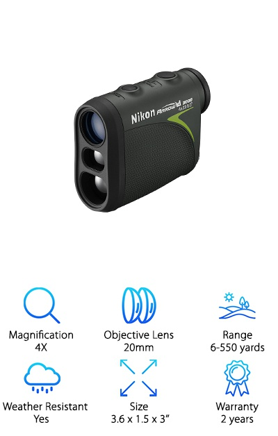The Nikon Arrow ID 3000 was made with bow hunters in mind and uses several technologies to provide you with a clear, well-lit view of the hunt! Nikon's Tru-Target Technology lets you switch between Distant Target Priority mode and First Target Priority mode. DTP mode is for targets obscured by brush and tree branches, while FTP mode looks for the distance of the closest target with overlapping background. Nikon Incline/Decline (ID) Technology provides horizontal distance and actual distance display modes to account for changes in elevation and terrain. The rangefinder comes with a neoprene case, CR2 battery, and a shoulder strap. It's rainproof and weatherproof for hunting in all sorts of environments, plus it weighs just 4.8 ounces. The 4X magnification and 20mm objective lens give you a range of 6-550 yards. Nikon's camera lens technology is applied to this device to make it one of the best bow hunting rangefinder options around!