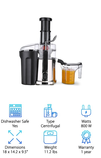 If you want a fast and powerful juicer, look no further. The Xiaol Juice Extractor's 800 W two-speed motor allows you to juice all kinds of produce. Choose the low speed for softer ones and high speed for those tough and fibrous fruits and vegetables. Its BPA free Juice Pitcher with a splash-free lid, making your juice ready to serve. The Juice Extractor is easy to assemble. Its parts are dishwasher safe so cleaning is easy and it comes with a cleaning brush. It's got a safety locking arm and overload protection. The Xiaol Juice Extractor also comes with a recipe guide to help you decide what to whip up next with your juicer.