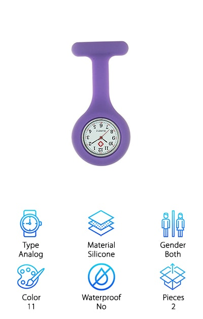 This watch fob is the perfect choice for anyone who wants something that comes in a lot of different colors that they can use to show off their personal style in the office. This watch comes in 11 different colors and styles. This watch comes with a simple silicone that will go well with everything. The colors available in that style are- blue, pink, red, yellow, and white. This watch also comes with a fun smile heart pattern that will bring a smile to your face every time you clip it on. The colors available in that style are- blue, pink, black, red, white, and yellow. This makes it easy to choose a color and style that speaks to you. These watches are fun, bright, and bendy so they can go wherever you go. The brooch design is easy to clip onto your clothes for easy readability and accessibility. You can remove the watch part and wash the outer silicone part. This is as close to waterproof watches for nurses you will find.
