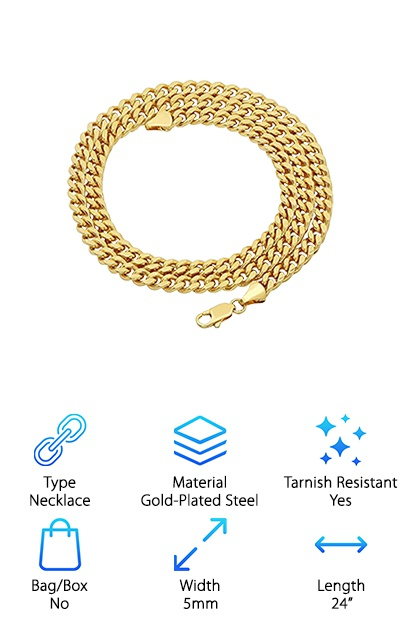Hollywood Jewelry 18k Gold Chain