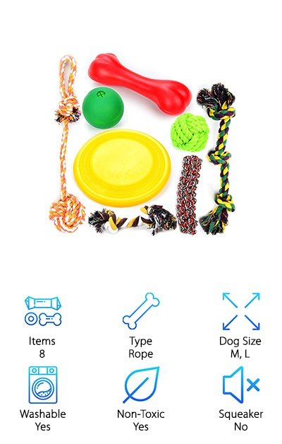 Sometimes a variety pack is the best way to go. If your dog is still a rambunctious puppy who's rough on their toys and gets bored easily, this eight-pack from Youngever might be a great way to slow down the destruction! It also works well for homes with multiple dogs, or when your pup is visiting with other dogs to give them toys to play with together. The pack of toys includes a rubber ball, floating frisbee, bacon-flavored bone, and five cotton rope toys in different sizes and shapes. Sometimes, the best dog toys for chewers are the ones that are inexpensive and easy to replace. This multi-pack can also help new dog parents figure out which types of toys their dog likes best! Medium to large dogs from 35-85 pounds can enjoy these toys alone or while playing fetch or tug-of-war. Youngever also offers smaller toy packs for small breeds!