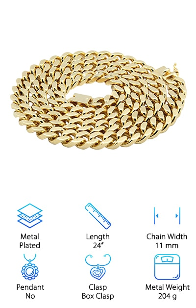 Real gold hip hop jewelry gets you compliment after compliment when you pair it with some fly kicks and your hottest outfit. If you need real gold and want everyone chasing after you, asking where you got that chain, it's time to go for the Riveting Miami Cuban Link from Riveting Jewelry. This is the real deal, thick 14-karat gold plated over semi-precious metal. The chain is coated with a protective anti-tarnish coat to help you avoid damage. If that wasn't great enough, the company will fix or replace it for free. They also do hassle-free returns and exchanges. You can relax about making this small investment in return for a smokin' new look. Bottom line: At 24 inches long and 11 millimeters wide, the Riveting Chain is exactly what you need to refresh your wardrobe. It fastens in the back with a strong box clasp, so it won't go flying off anywhere. Give it to someone you love!