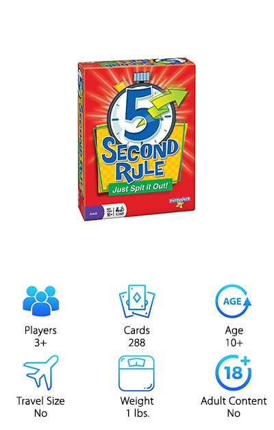 5 Second Rule will bring your goofy side out as you are timed at a strict five seconds to list answers that fit a topic on a card. This is not only a game for adults, but it becomes a great choice when you play with grown-up friends and are having fun. The timer makes a silly sound and may cause you to lose focus, but that is part of the game. You never know what comes out of your mouth when you have so little time to prepare.