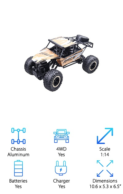 Looking for a sweet buggy truck? This GMAXT 4WD RC truggy is a powerful, speedy little vehicle that is ready for adventure. This truck can go up to 25 miles per hour. And even at top speed, this thing has a highly responsive transmitter; the steering and throttle are ready for your command! This model of truggy has a much longer battery span than most; it can run up to 30 minutes on one charge. It has a beefy suspension, 4WD, has rubber wheels, and is semi-waterproof, making it ideal for the outdoors no matter the weather. The GMAXT 4WD RC also features a one-year warranty to help protect your purchase. So if you're looking for a real performance truggy, you can't go wrong with the GMAXT 4WD RC. It's a great RC vehicle that we think you'll love!