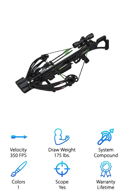 The KI350 compound crossbow comes with a 4x32 illuminated glass reticle scope, side mount quiver, rope cocking device, three 20'' carbon arrows, and a starter pack of rail lube. Take your body shape and clothing into account with the adjustable fore grip. This crossbow can produce over 100 foot-pounds of kinetic energy, so you can use it to hunt big game like moose as well as whitetail deer! Hunters may prefer the KI350 for its power and the blackout design that helps it blend in. It's a great combination of high-quality at a low price, especially considering that lifetime warranty! The bow also has anti-dry fire and a safety, and it's also super accurate! It has deadening string suppressors as well to help you avoid startling prey. A folding foot stirrup can act as a convenient stand while making the crossbow more compact. Did we mention that hunters will love this crossbow?