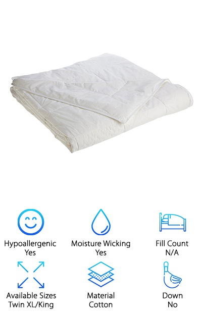 Are you ever woken up at night, bothered by fluctuating temperatures or the inability to cool off? If you are looking for something that won't weigh you down and keeps you happily rested through every season, consider the Smartsilk Duvet Comforter. Processed naturally, it is hypoallergenic. It is resistant to dust mites, dust and pet dander. Mold and mildew growth is also prevented with Smartsilk's scientifically designed cotton exterior. The 233-count cotton will also wick away moisture, so hot sleepers will cool down naturally to get to deeper sleep. The fill is patented Smartsilk, and it is machine washable and dryer-friendly on a low setting. It is made from wild silk, and it will last for years when treated properly. In total, it weighs just 8 pounds so it will stay light and fluffy. The Smartsilk Duvet Comforter comes in Twin XL and King sizes. What are you waiting for? This comforter is made to please even the pickiest when snoozing.