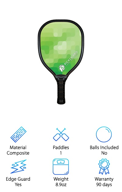 """The Pickle Pro paddle is a medium to heavy paddle ideal for beginners and players who want to hit back hard! The core is made up of aluminum and High-Density Polyethylne (HDPE), the same material hard hats are made of. A neoprene synthetic rubber bumper protects the paddle from accidental drops and the general wear and tear of the game. The paddle features a """"universal"""" grip measure 4.75'' long and with a 4.25'' circumference. Tacky black grip tape provides cushion and a solid grasp of the paddle. The materials are perfect for hardcore, longterm play--they don't corrode, swell, or delaminate, even if they get wet. They're also responsive and can really help you take out your aggression on the ball! Whether you're looking for an entry-level paddle or want to upgrade from a wooden pickleball paddle, the Pickle Pro composite paddle will help you amp up your game."""