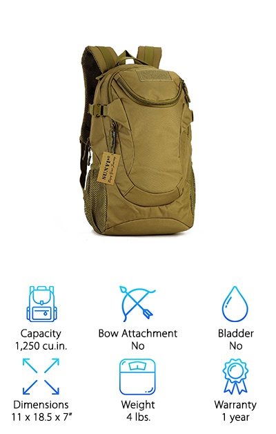 Looking for something that looks a little more military? The Huntvp Military Backpack was designed with long treks and hard roads in mind. The interior is designed to cradle all your valuables, keeping them safe and dry while you move through nearly any weather. All the stitching and webbing are military grade nylon material. And the overall backpack is made from waterproof Desert Camo fabric that won't fade in the sun or rot even after being soaked. Although the bag is not bladder compatible, the mesh sides offer a great place for water bottles. But the best part is the expansion system. The bag is compatible with MOLLE (Modular Lightweight Load-carrying Equipment) which are a series of expansions for your bag to add extra pockets, water bladders, weapon holders, and other accessories.