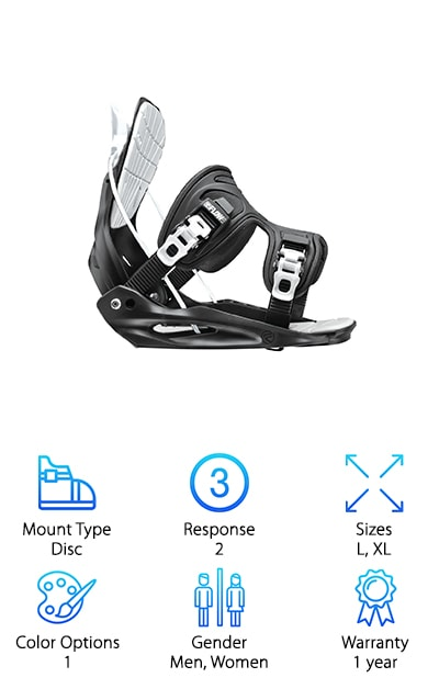 When you're shopping around for the best all mountain bindings, the Flow Flite LTD Stormtrooper is a must see and not just because it has the coolest name ever. This is a rear-entry binder that's pretty easy to put on. You might be wondering why that is. Well, the highback has a lightweight, one piece design that fully reclines so, if you like a rear entry binding, this one might be just your speed. The baseplate was made to transmit energy from the board efficiently which helps for a smooth ride. This is not a binding that looks like it's been stripped down; rather, it has an exoskeleton support-frame that forms around your boot for a bit of extra ankle support. One more thing. Adjustments are easy. Just pull the lever and secure it down.