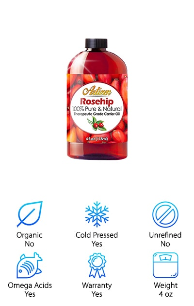 Last but not least on our top ten list is this fabulous rosehip oil from Artizen. This is a 100% pure oil that doesn't contain any chemicals, additives, fragrances, or fillers. Because it's full of natural omega-3, omega-6, and other fatty acids as well as other vitamins your skin needs, this is a great replacement for your expensive face creams and lotions. This oil leaves your skin feeling soft and smooth thanks to the penetrating and moisturizing effects of this natural oil. Another impressive thing about this oil is that it comes with a lifetime guarantee. If you're not happy for any reason, they will ether refund your money or replace your product. That's a pretty awesome warranty. It shows you that they really stand behind their product which is always a great thing.