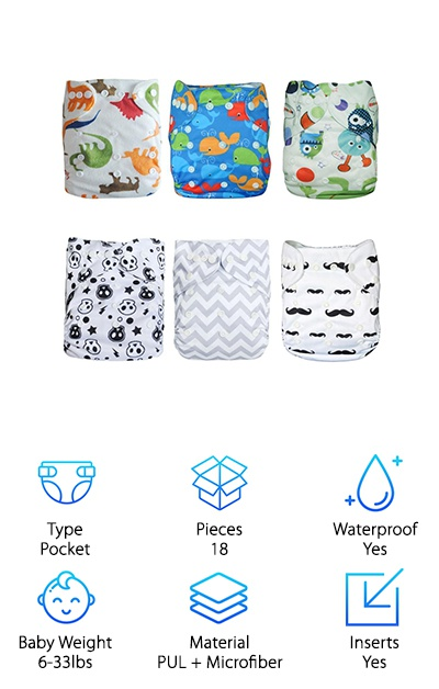 Alva Baby All-in-One Diapers Multi