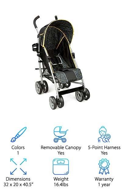 The Delta Children LX umbrella stroller comes in black with soft yellow accents and a unisex pattern. The padded seat can be reclined back to an angle or set straight, and you can also adjust the footrest. As for storage, you get a Velcro-closure storage bag on the back canopy and a mesh basket under the seat. The umbrella canopy has a peekaboo window so you can check on your little one's escape progress, too! The stroller is relatively lightweight while still feeling sturdy, so it's easy to take with you travelling. The suspension is pretty basic so it works best on sidewalks and other hard surfaces. In an ideal world, the canopy would extend further over the seat to more fully shade your kid from the sun. But for an everyday travel stroller, this one works well! We liked the built in cup holder by the handle to hold your thermos or water bottle.