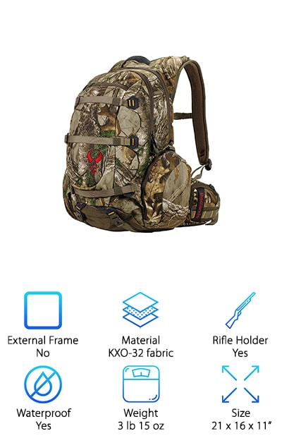 This awesome hunting pack can be used as anything from archery hunting packs to shed hunting packs. This is the ultimate hunting daypack, allowing you to pack everything you need for a day hint and then some. It is made of ThermoMold Suspension which utilizes molded foam so ergonomically advanced that it virtually matches every contour of the human form. This makes this pack an incredibly comfortable alternative to any daypack you've used before. It even includes load lifter straps that transfer weight from your shoulders to your hips. This makes every part of carrying your pack a breeze, from carrying to putting it on and taking it off. It has built-in pistol holders and 5 compression straps that give you lots of options for gear attachment. This makes it perfect for almost any weapon. The multilayer RealTree Camo blends in seamlessly with your environment and help you have the perfect hunt every time.