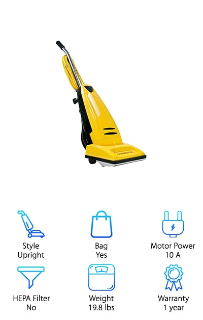 Before we get into the details, we have to say that one thing we really love about the Carpet Pro Commercial Vacuum is how awesome it looks. The bright yellow color is not going to be ignored. Of course, that's not enough to make a list for best commercial vacuum cleaners but it has plenty of features that give it a spot on this list. For one, the motor by-pass system means that all dirt goes directly into the bag. What exactly does that mean? If you accidentally vacuum up a coin or screw, it isn't going to break the engine. The brush roll and baseplate are made of metal instead of plastic for increased durability, a great thing to have in a commercial vacuum. One more thing. The foam handle is just amazing as is the furniture guard.