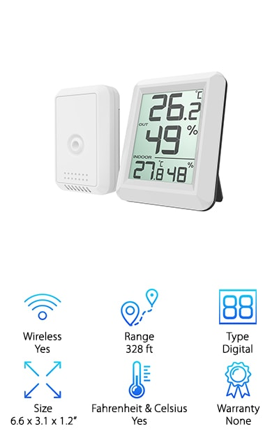 This thermometer provides incredibly accurate monitoring of your homes temperature situation. The hygrometer function measures indoor and outdoor temperature & humidity values in real-time, allowing you to get the most accurate information. The large LCD screen makes this thermometer the perfect choice for easy and clear readings. It is attached to a wireless transmitter that features strong wireless signal penetration, which makes it easy for you to get a great reading no matter where you are in your house. This thermometer can receive the signal quickly within the transmission range, making sure you're always getting the best and most accurate reading. This is perfect for monitoring temperature in any sensitive area. It is easy to mount it on wall or you can just place it on the table using the retractable stand. This thermometer can be switched from Celsius or Fahrenheit via the button at the top. It operates on batteries so it's portable and convenient.