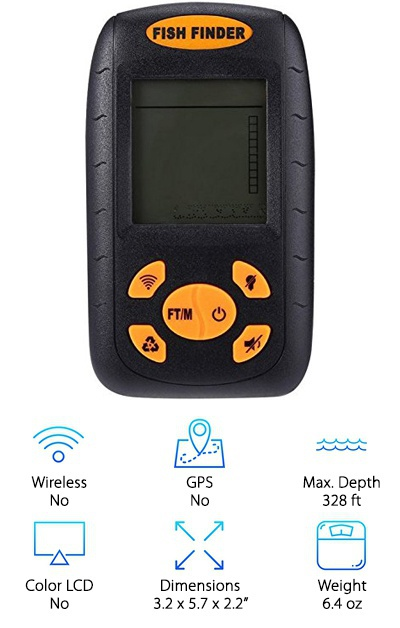 The Camonity Wireless Fish Finder is another great budget fish finder, with a backlit LCD and a transducer with a 25-foot cable. It can display the water temperature and depth and uses icons for the approximate depth and location of fish, while also showing the bottom contour and weeds. It has five sensitivity settings for different water conditions and a fish alarm feature. Its controls are very simple, and it is a lightweight device, but it can be confusing to use if you haven't read the manual. It requires four AAA batteries and includes simple mounting hardware and a neck strap. If you want a basic icon-display fish finder, this Camonity option offers about the same features as our budget pick and similarly fish finders.