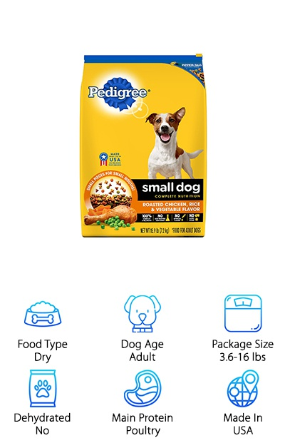 Pedigree Small Breed dry dog food comes in chicken, salmon, or steak flavors and small kibble pieces in a variety of fun shapes and textures. If you're looking for a nutritious dog food available at a low price with great value, Pedigree is a top choice! The ingredients provide sources for chondroitin and glucosamine for joint health, plus calcium for strong bones and teeth. Omega-6 fatty acids help keep their skin healthy and hydrated and support a soft coat. The kibble is designed to help out with your dog's oral care, too, which is helpful for small breeds prone to dental issues. Many dogs find it tasty, and many owners appreciate the low price! Keep your dog eating well and feeling great with a delicious and nutritious dry dog food kibble. You can also switch between flavors if your dog gets bored with the same-old, same-old!