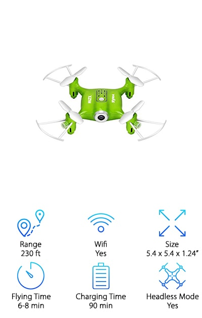 The Syma is a nano pocket drone that comes in three fun colors! Its tiny design makes it perfect for indoor or outdoor use. Small, but durable, it won't damage the furniture if you lose control, making it a great choice if you're on the hunt for the best drones for kids. Equipped with wifi capability and a 0.3MP camera, you can stream the feed to your smartphone or take pics and video for viewing later. One key take-off and landing control and headless capability make this model easy to figure out for younger kids, who will get a kick out of the miniature design. You can even coordinate your own flight path with the SYMA GO app and play with various flight movements via the 6-axis gyro design. If you've been searching for toy drones with camera and you appreciate a small design and upgraded features, then look no further!