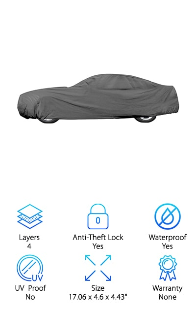 This car cover is a great choice for people searching for the best outdoor car covers review. This OxGord Car Cover is a great choice for anyone looking for a tough cover that can stand up to the outdoors. It has four tough layers that help it to keep your car safe from the elements. Three of those layers are made of spunbond polypropylene. This provides durability and protection. One layer is made of microporous film, allowing the cover to be breathable and lightweight. This cover includes a storage bag and antenna patch, which allows you to easily store the cover when you aren't using it. The tie down security grommets helps prevent theft and keep your cover on your car in high winds. The front and rear of the cover have elastic hems and drawstrings to ensure a snug fit on any car. This is a great choice for anyone looking for a tough and durable outdoor car cover.
