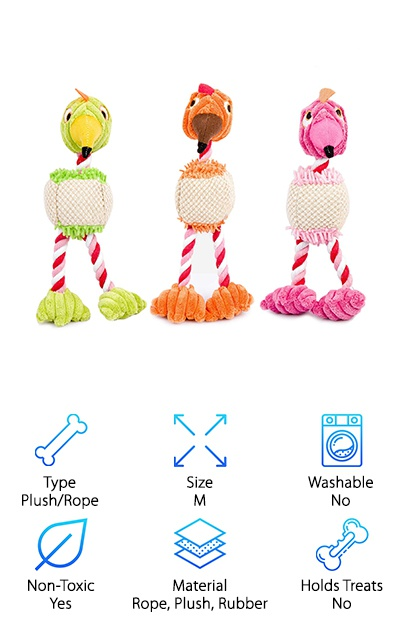 "This three-pack of squeaky plush toys with rope ""legs"" can provide cheap entertainment for your rough-and-tumble pup! Use it for an indoor game of fetch on a rainy day, play tug-of-war, or just let your puppy shake it and toss it around on their own! Each toy measures 9'' long, so it's a good size for puppies and small to medium-sized dogs. They aren't ideal for aggressive chewers. The fun squeaker can keep your dog having a grand old time with or without you involved, and the rope parts help to ""floss"" your dog's teeth. These toys are super cheap and a great option for puppies and dogs on the smaller end. This brand also offers a different three-pack style of ducky plush toys with nylon and plush fabric and squeakers. If you have multiple dogs that tend to want their ""own"" personal toys, this three-pack can keep them all satisfied!"