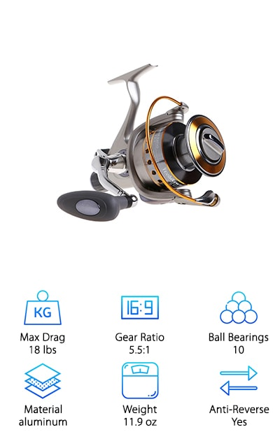 "The Yoshikawa Spinning Reel is a deluxe product with tons of smooth options that give you everything you need to hook and land a big, fighting fish. A strong corrosion-resistant construction is provided in the graphite, aluminum and stainless steel build of this reel. You will get long-lasting, smooth operation from this sturdy reel, with saltwater or freshwater use, without having to pay an outrageous price. It gets better. This reel lets you play a fish your way by offering 100% free spooling. This allows you to work a fish while still protecting your gears, and also makes it possible for you to catch larger fish with a smaller reel. Oiled felt drag washers, a multi-disk drag system, ""Even Flow"" line roller, and 10 ball bearings assure reliable, smooth and quick spooling and retrieval. One more feature we must mention is the smart gray style of this reel, which makes it a perfect match for a variety of popular rods."