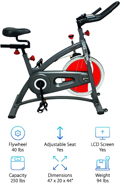 "The Sunny Health & Fitness SF-B1423 provides a heavy flywheel but a lightweight indoor bike overall. It comes with a small, ultra-basic LCD display that shows your time, speed, and distance. If you set it to ""scan"" mode, it will constantly cycle through these progress indicators, or set it to one option with the simple two-button controls. It is belt driven, so it is very quiet and comes with transport wheels and a water bottle holder. Basket pedals provide security as you work out. The handlebars adjust up and down, while the seat can be moved up and down as well as fore and aft. Like the Bladez Fitness Echelon GS, the SF-B1423 provides a simple setup at a low price, while still including an LCD screen. The handlebar design also makes it easy to rest a book, smartphone, or tablet above the LCD monitor. All in all, this basic indoor cycle can provide a great indoor gym experience."