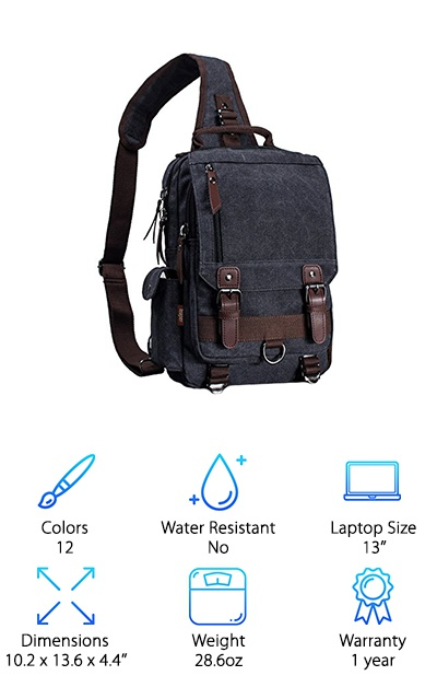 The Leaper Sling Messenger is available in two sizes with 12 different colors and styles. The bags are made from washed canvas with PU leather accents, and pockets can be closed with a mix of zippers and buckle flaps. The large size can fit a slim 13'' laptop without a case, while the smaller size can fit up to a 10'' tablet. Both sizes feature a multitude of pockets, including a main compartment with an inner laptop pocket, small pockets, and an inner zipper pocket. These rugged-looking canvas bags can be a great choice for taking to school or work and are close to the size of a traditional medium-sized backpack. Perfect for taking along photography equipment or art supplies, too! Although you can technically use this sling bag for hikes and other adventures, it's better suited as an everyday bag for your commute. If you want a sling bag that's stylish without being overly sporty, this one might be for you!